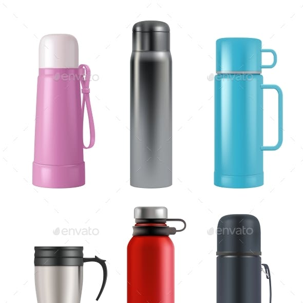 Thermos Mockup. Realistic Cup Round Containers