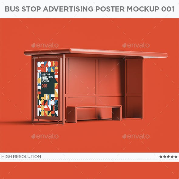 Bus Stop Advertising Poster Mockup 001