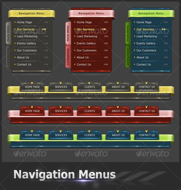 Web Navigation Menus - Web Elements