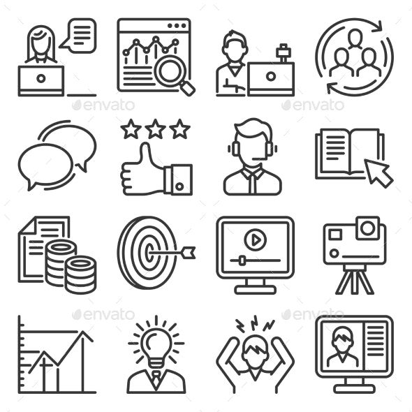 Blog and Video Blogger Icons Set - Miscellaneous Vectors