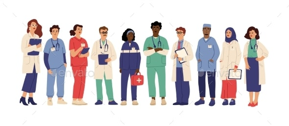 Hospital Team. Medical Employees in Uniform - People Characters