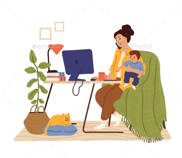 Mother Work From Home. Working Mom, Happy Busy - People Characters