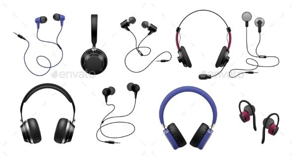 Music Earphones. Realistic Black Stereo Audio - Man-made Objects Objects