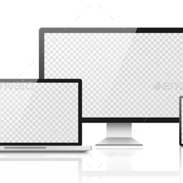 Realistic Computer Laptop Smartphone Mockup