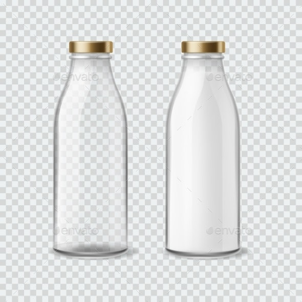 Milk Bottle. Realistic Empty and Full Bottles for - Food Objects