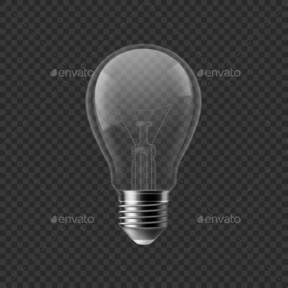 Realistic Bulb. Turned Off Isolated on Transparent - Objects Vectors