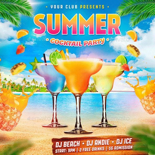 Summer Cocktail Party Instagram Banner - Social Media Web Elements