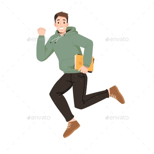Smiling Guy in Hoodie with Book Jumps, Fist Up