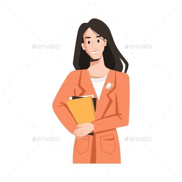 Brunette Longhair Woman in Raincoat, Books in Hand