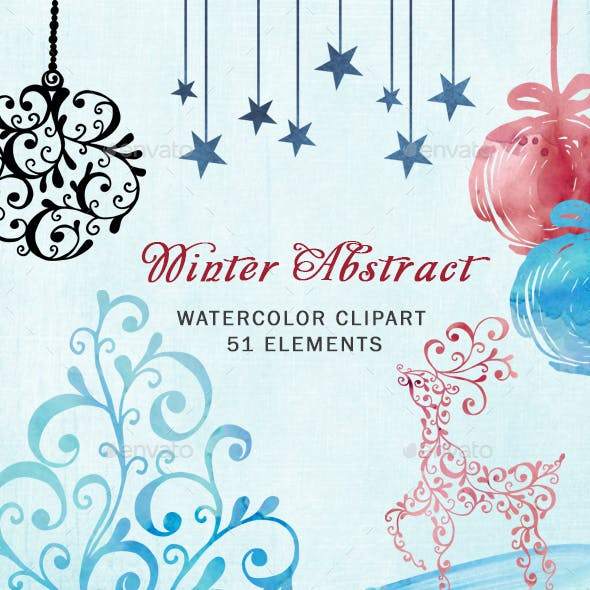 Watercolor Abstract Christmas Clipart
