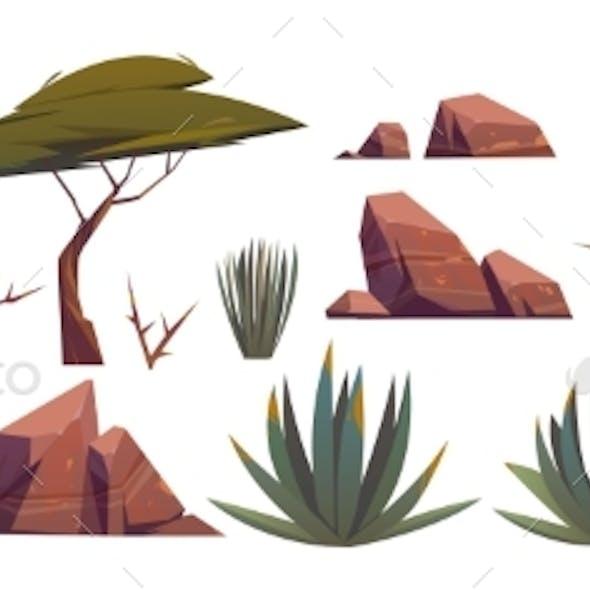Tumbleweed, Cactuses and Rocks of Sand Desert