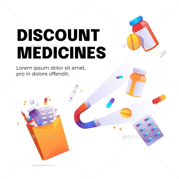 Discount Medicines Cartoon Poster with Magnet