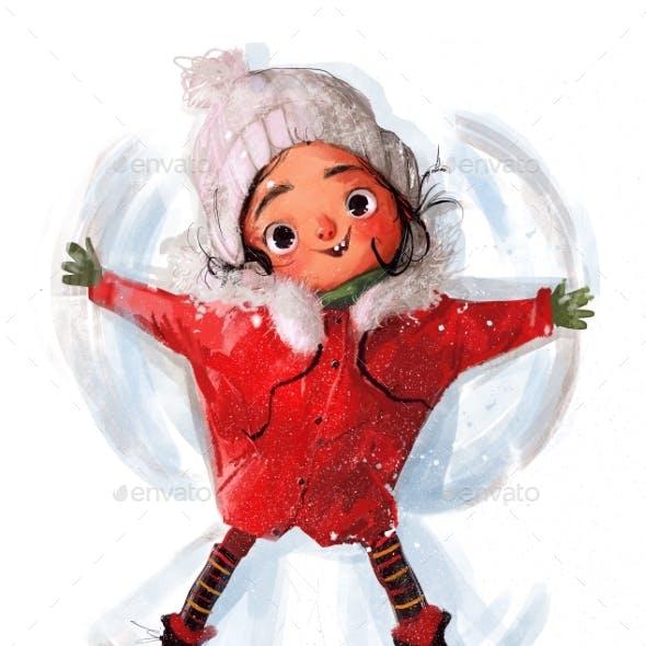 Cute Little Winter Girl in Red Jacket
