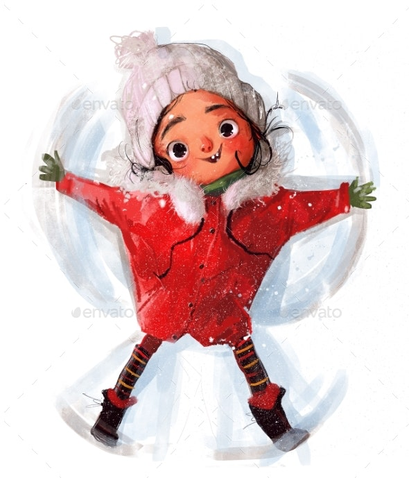 Cute Little Winter Girl in Red Jacket - People Illustrations