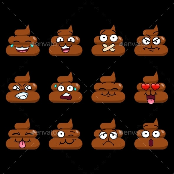 Big Vector Set with Funny Cute Poop Emoji - Objects Vectors