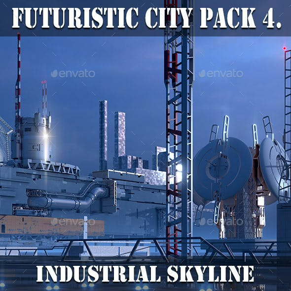 Futuristic City Pack 4. Industrial Skylines