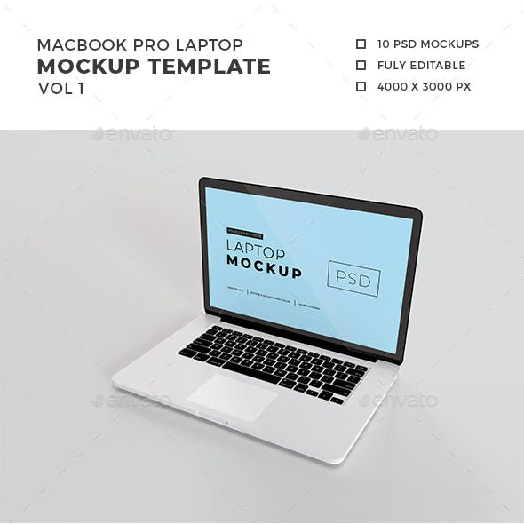 Macbook Pro Laptop Mockup Vol 1