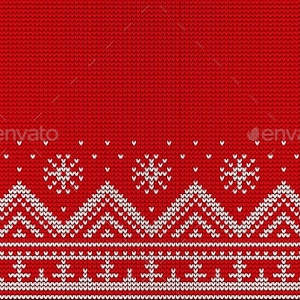 Knitted Red Seamless Pattern. Christmas Sweater
