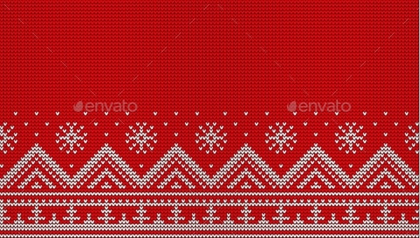 Knitted Red Seamless Pattern. Christmas Sweater - Seasons/Holidays Conceptual