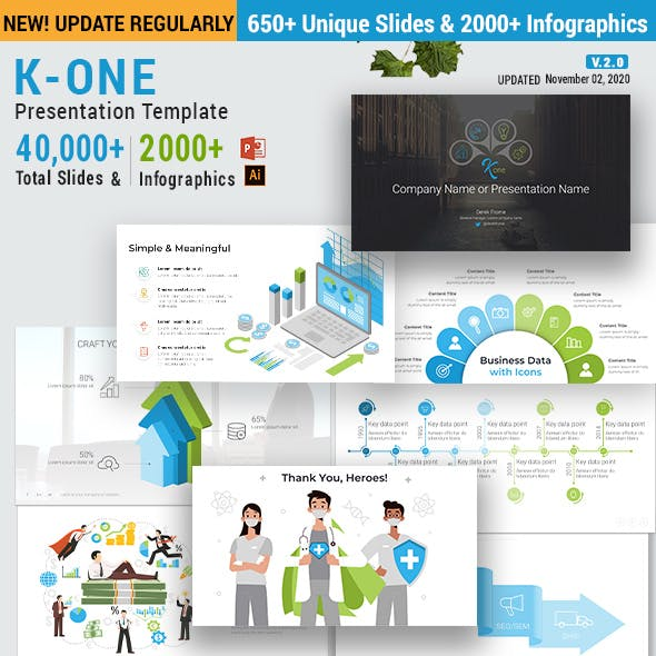 K-One Presentation Template & Infographics Pack v.2.0 - Updated!