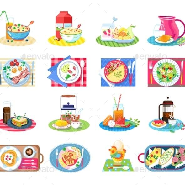 Breakfast Healthy Food Vector Illustration Set