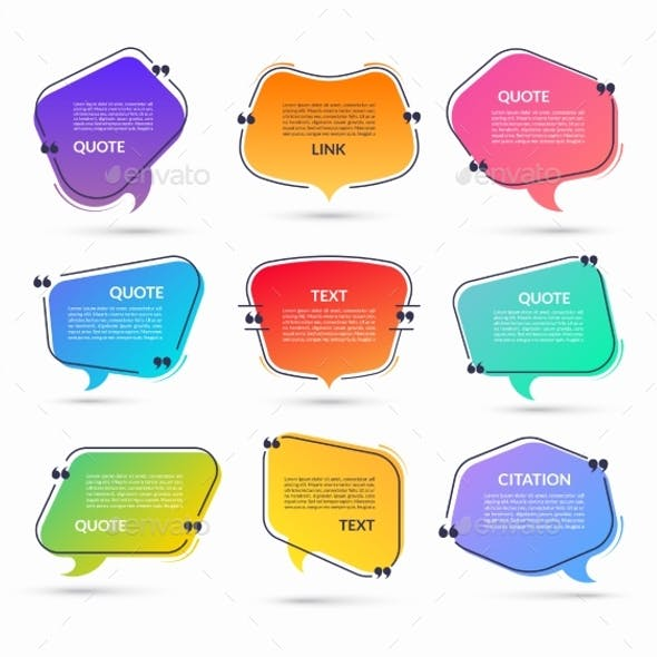 Set of Vector Speech Bubbles with Quotation Marks
