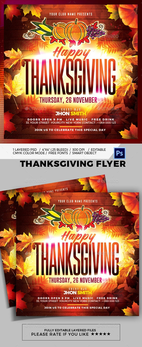 Thanksgiving Flyer By Pixelyes Graphicriver