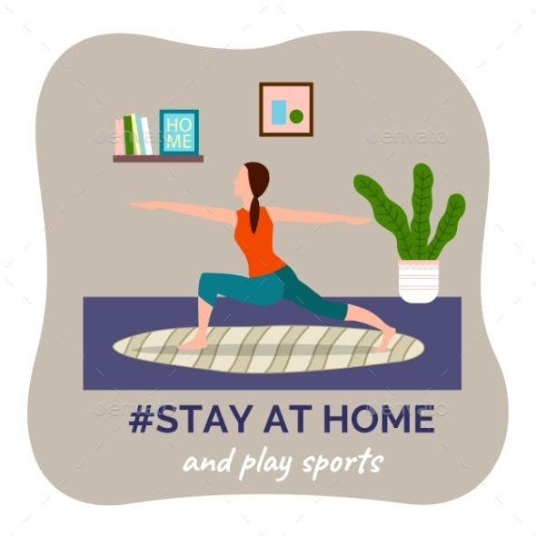 Stay at Home and Play Sports, Woman Making Fitness