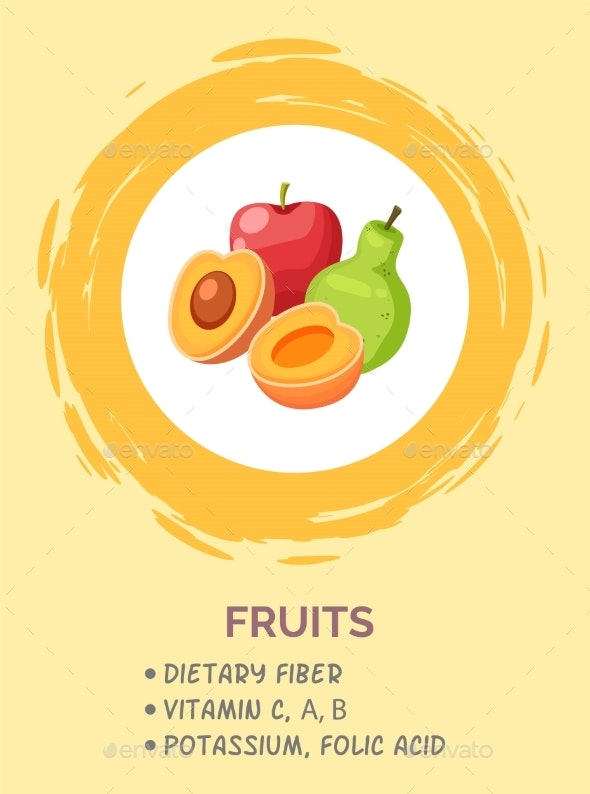 Poster with Useful Information, Healthy Menu - Food Objects