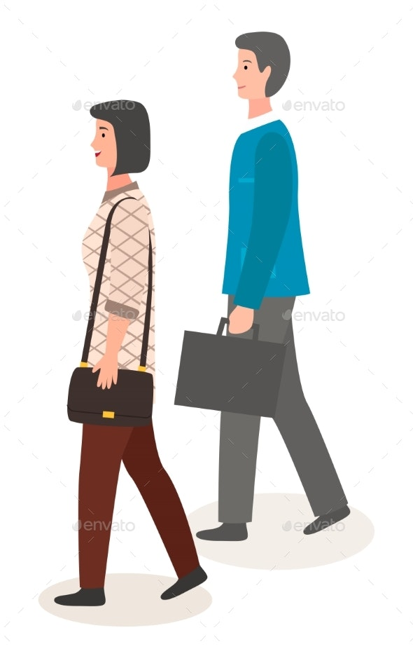 Stylish Businesspeople Woman and Man Wearing - People Characters