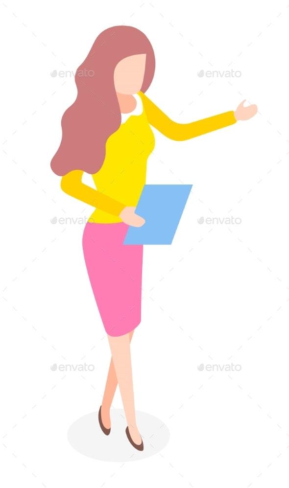 Elegant Stylish Businesswoman Wearing Yellow Shirt - Business Conceptual