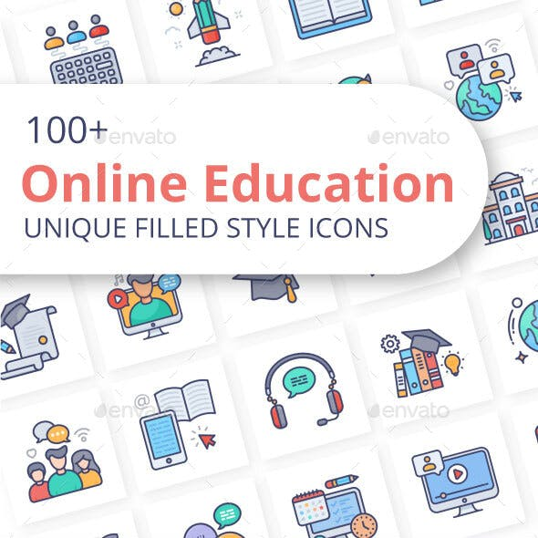 Online Education Filled Icons