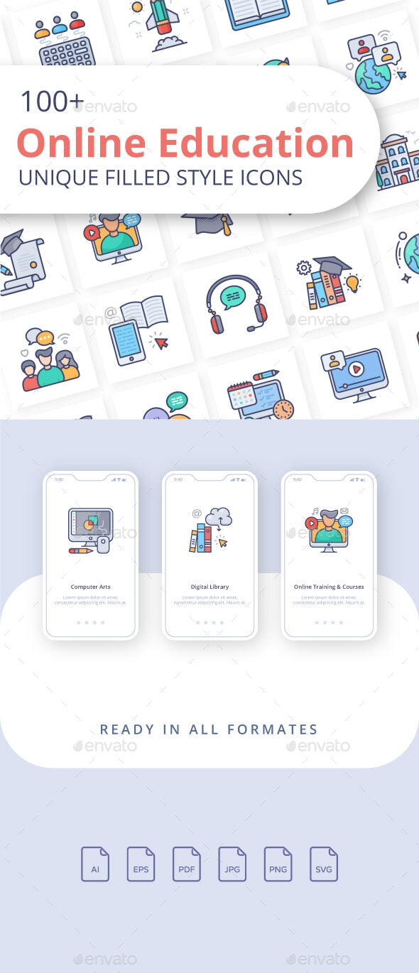 Online Education Filled Icons - Miscellaneous Characters