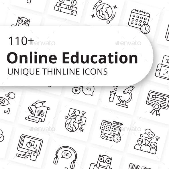 Online Education Outline Icons
