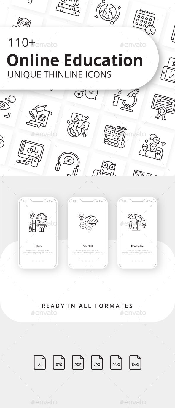 Online Education Outline Icons - Icons