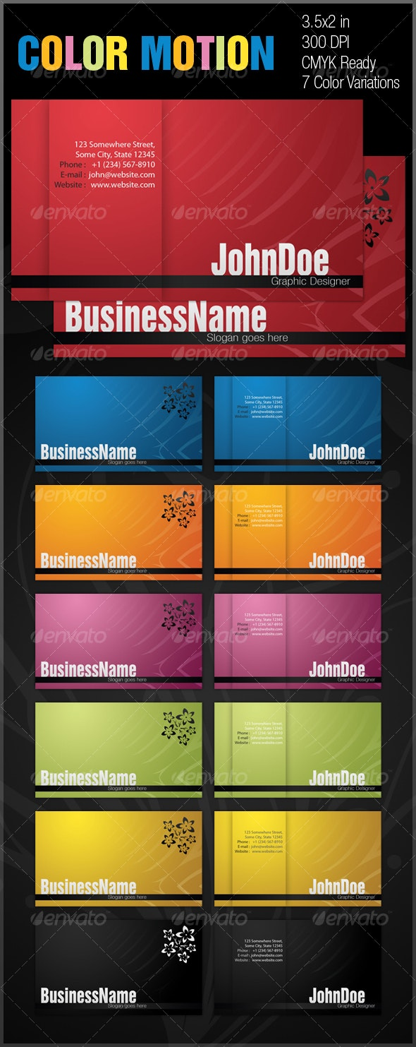 Color Motion Business Card. - Corporate Business Cards