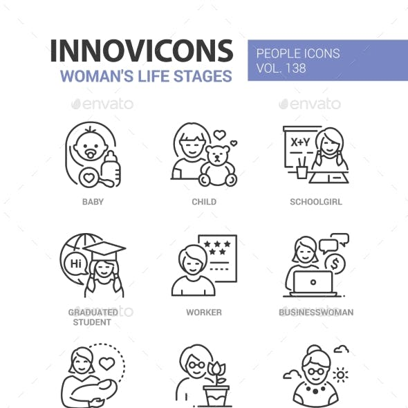 Life Stages of a Woman - Line Design Style Icons