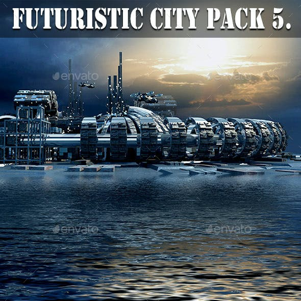 Futuristic City Pack 5. Marina Skyline