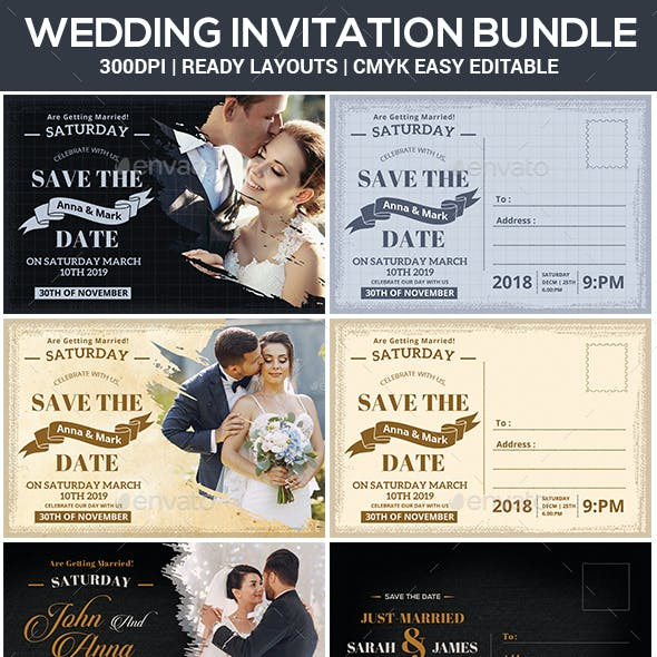 Save The Date Postcard Bundle Templates