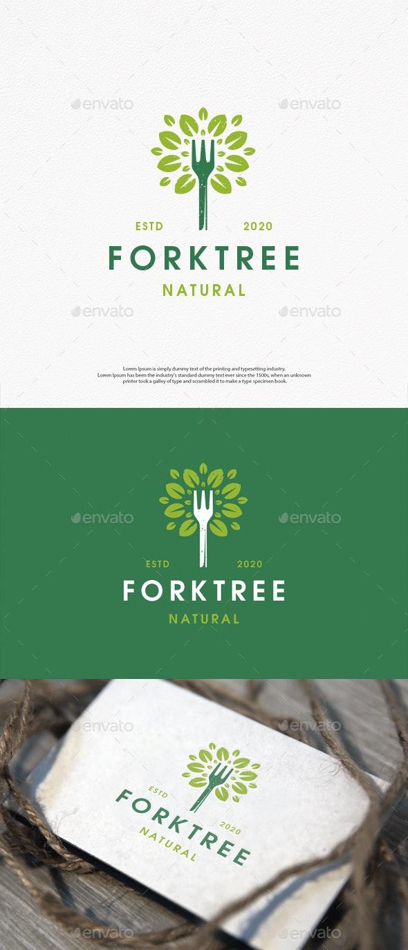 Fork Tree Vintage Logo Template - Restaurant Logo Templates