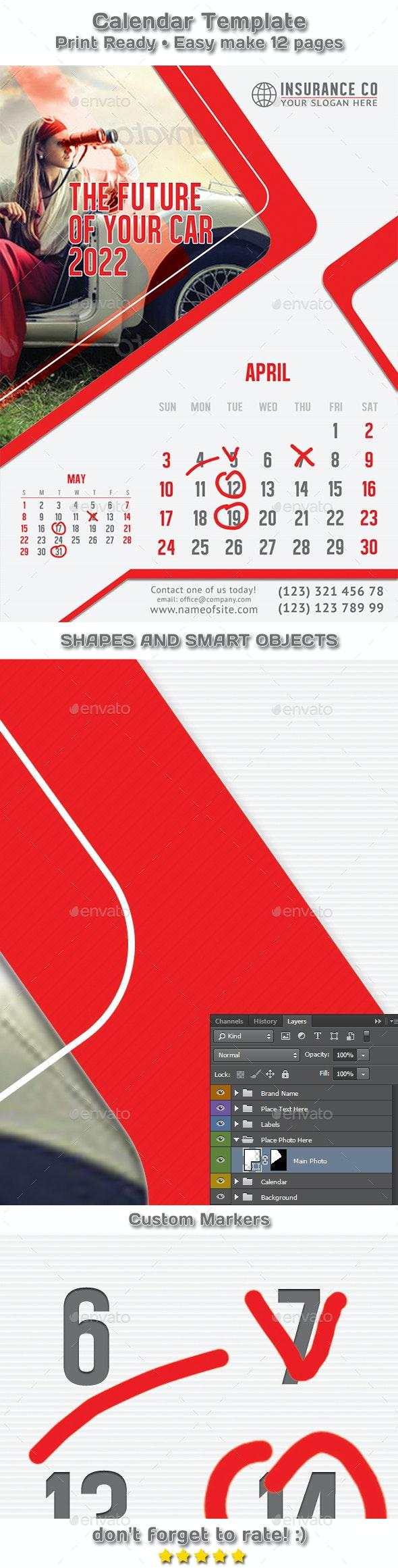 Auto Insurance Calendar 2021 - 2022 Template - Calendars Stationery