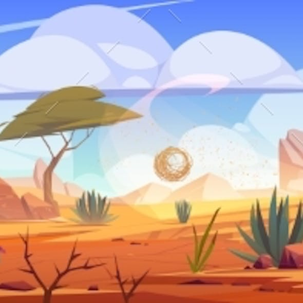 Desert Africa Natural Background with Tumbleweed