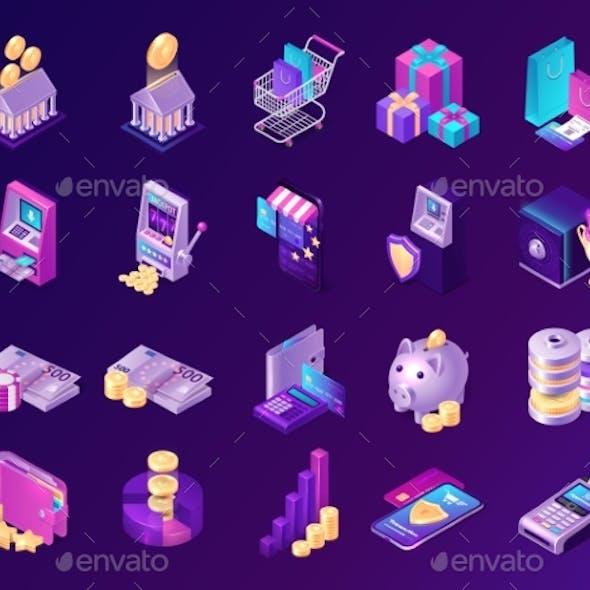 Isometric Finance Icons with Money