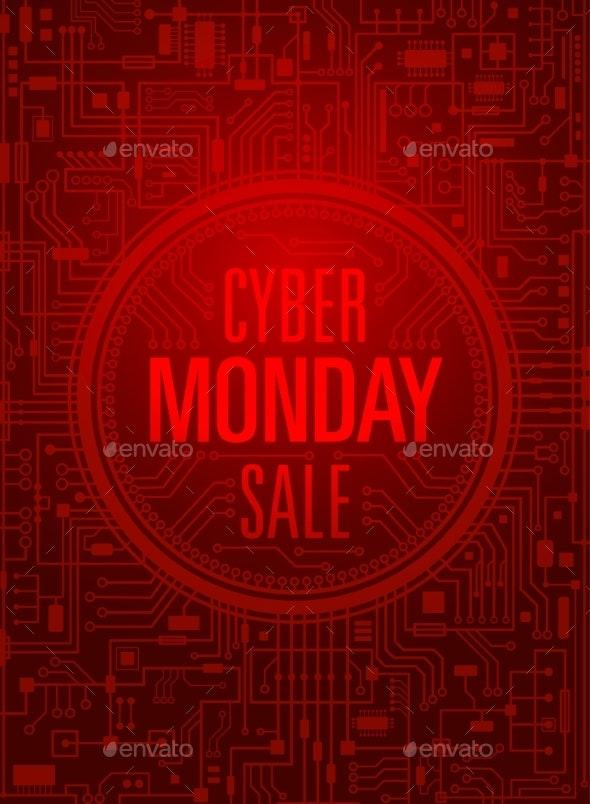 Cyber Monday Sale Vertical Red Banner - Miscellaneous Vectors