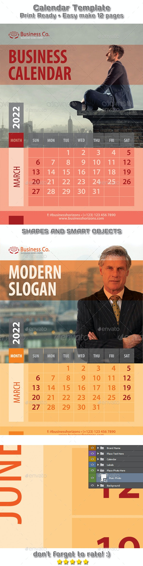 Modern Business Two Styles Calendar 2021 - 2022 Template - Calendars Stationery