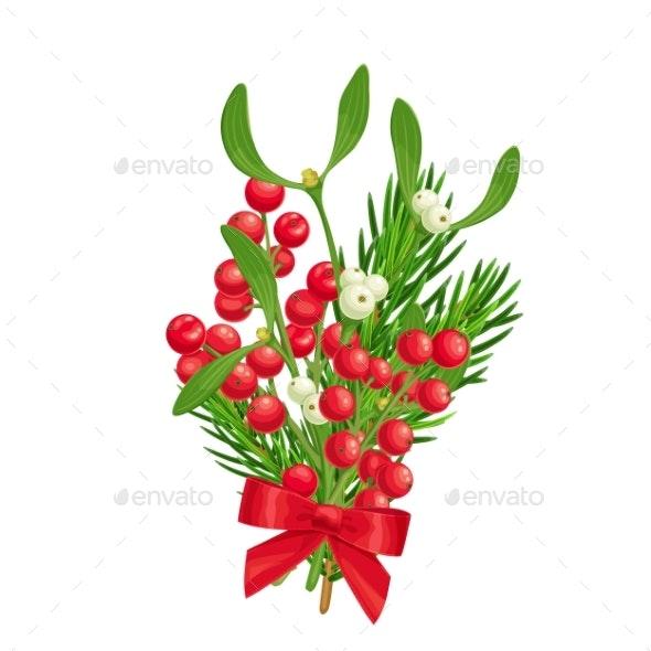 Christmastime Decoration with Spruce Twig Holly - Christmas Seasons/Holidays