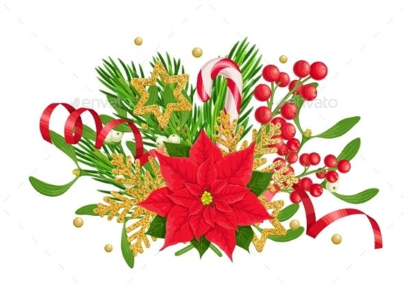 X-Mas Traditional Decoration of Poinsettia - Christmas Seasons/Holidays