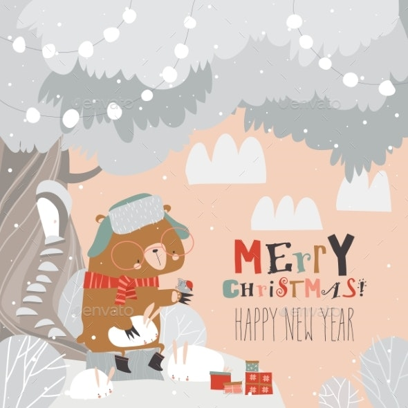 Cartoon Bear Sitting with Rabbits - Christmas Seasons/Holidays
