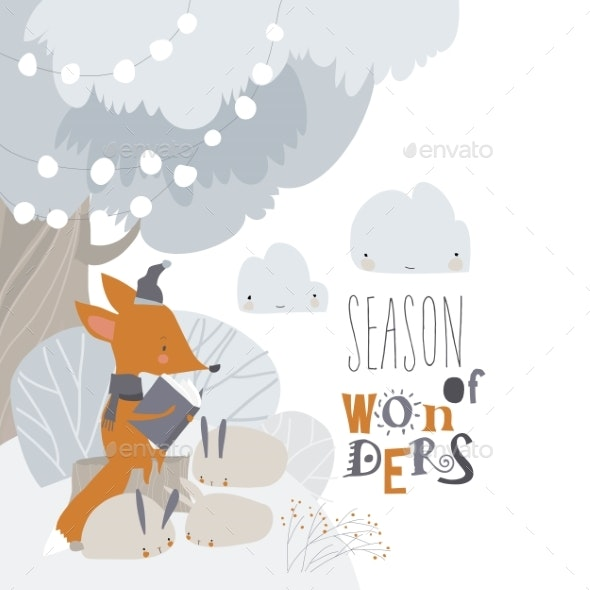 Cartoon Little Fox Reading Book to Rabbits - Miscellaneous Vectors