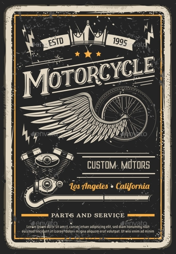 Motorcycle Poster - Miscellaneous Vectors
